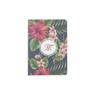 Floral Pattern Hibiscus Monogram Passport H Passport Holder