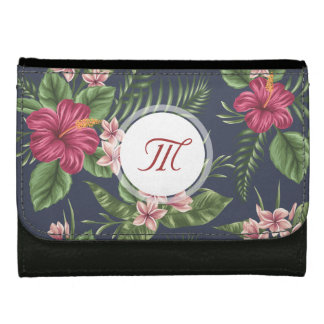 Floral Pattern Hibiscus Monogram Wallet