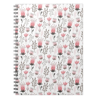 Floral pattern in Pink and Magenta Spiral Notebook