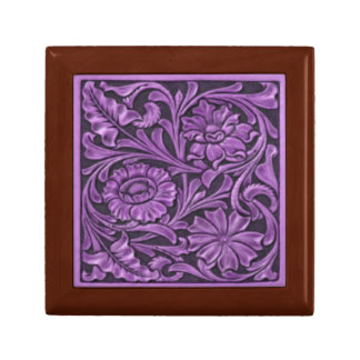 Floral Pattern in Purple Small Square Gift Box