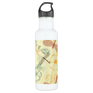 Floral pattern in vintage style dragonfly foliage 710 ml water bottle