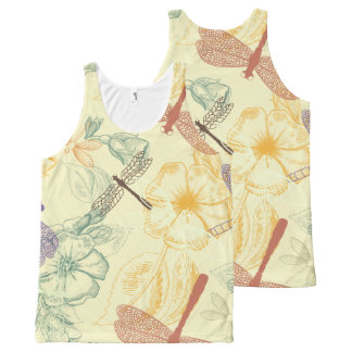 Floral pattern in vintage style dragonfly foliage All-Over print singlet