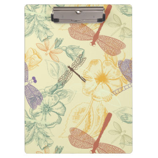 Floral pattern in vintage style dragonfly foliage clipboard
