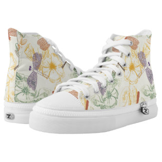 Floral pattern in vintage style dragonfly foliage high tops