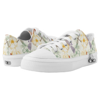 Floral pattern in vintage style dragonfly foliage low tops