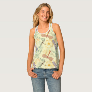 Floral pattern in vintage style dragonfly foliage singlet