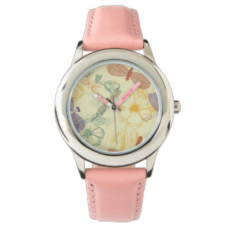Floral pattern in vintage style dragonfly foliage watch
