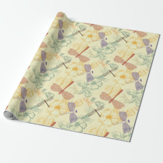 Floral pattern in vintage style dragonfly foliage wrapping paper