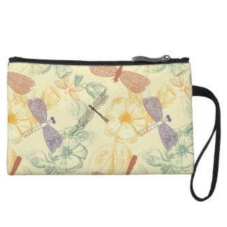 Floral pattern in vintage style dragonfly foliage wristlet