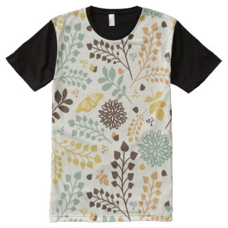Floral pattern: leaves, flowers and butterfly All-Over print T-Shirt