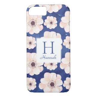 Floral Pattern Monogram Blue and Peach iPhone 8/7 Case