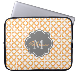 Floral Pattern Monogram Laptop Sleeve for Her