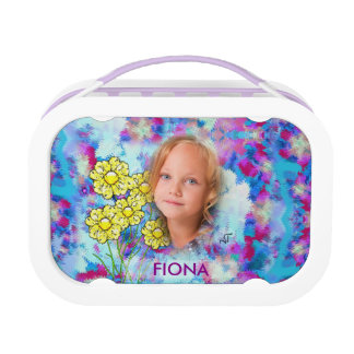 Floral Pattern Mosaic - Yellow Purple Flowers, Lunch Box