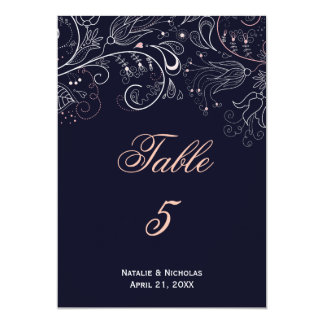Floral Pattern Navy Tulip - Table Number Card