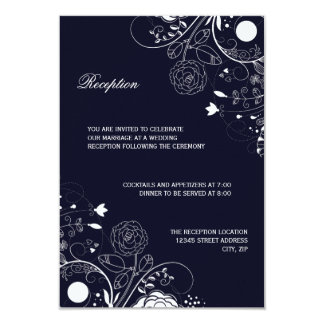 Floral Pattern Navy/White - Reception Invitation