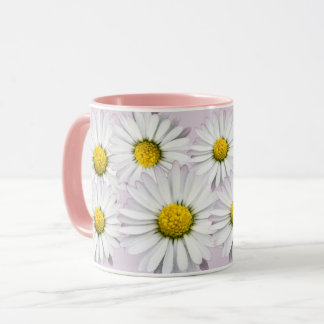 Floral Pattern of White and Yellow Daisies Mug
