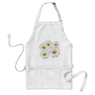 Floral pattern of white and yellow daisies standard apron