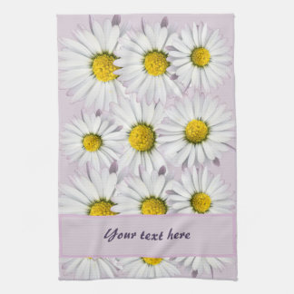 Floral Pattern of White and Yellow Daisies Towels