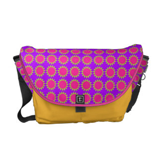 floral pattern pink and purple messenger bag