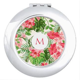 Floral Pattern Pink Hibiscus Monogram Compact M Vanity Mirror