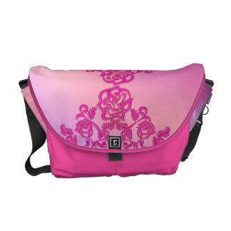 Floral pattern pink messenger bag
