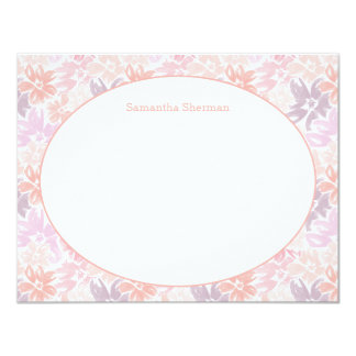 Floral Pattern Pink & Purple Thank You Stationery Card