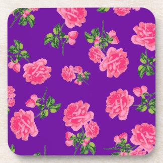 Floral pattern pink roses - deep purple coasters
