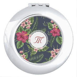 Floral Pattern Red Hibiscus Monogram Compact M Mirror For Makeup