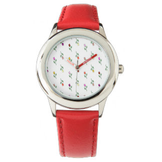 Floral Pattern Red Leather Starp Watch