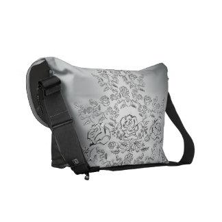 Floral pattern silver messenger bag
