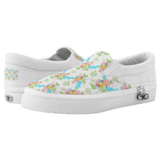 Floral Pattern Slip On Shoes