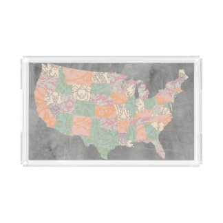 Floral Pattern States Map Acrylic Tray