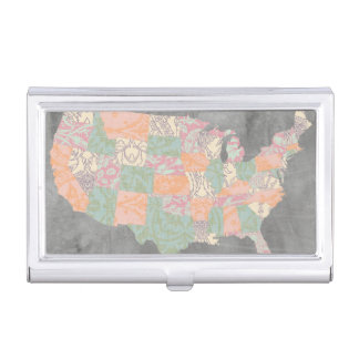 Floral Pattern States Map Business Card Holder