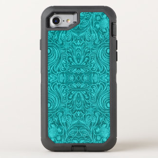 Floral Pattern Turquoise-Blu Suede Leather Texture OtterBox Defender iPhone 8/7 Case