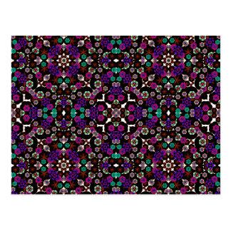 floral pattern violet postcard