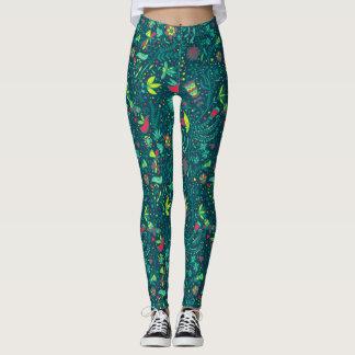 Floral pattern with cartoon birds 2 leggings
