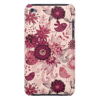 Floral pattern with cartoon birds barely there iPod cases