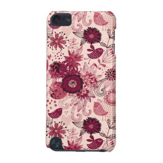 Floral pattern with cartoon birds iPod touch (5th generation) covers