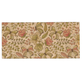 floral pattern with flowers and butterflies wood USB 2.0 flash drive