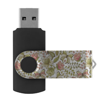 floral pattern with flowers and butterflies swivel USB 2.0 flash drive