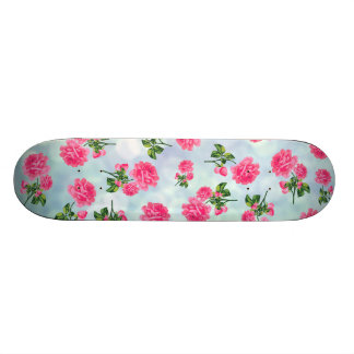 Floral patterns: pink flowers on blue bokeh custom skate board