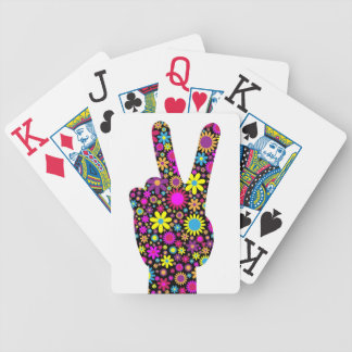 FLORAL PEACE HAND SIGN BICYCLE PLAYING CARDS