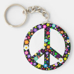Floral Peace Symbol Basic Round Button Key Ring