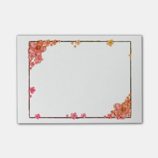 Floral Peach and Coral Post-It Notes