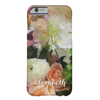 Floral Peach and Green Watercolor Custom Barely There iPhone 6 Case