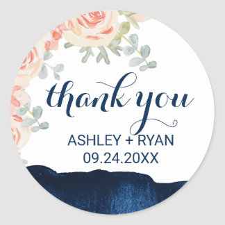 Floral Peach and Navy Watercolor Thank You Favor Classic Round Sticker