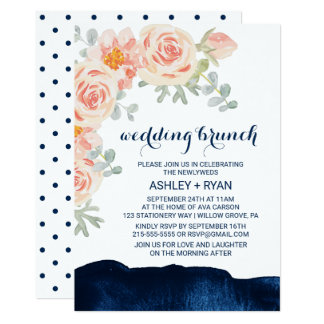 Floral Peach and Navy Watercolor Wedding Brunch Card