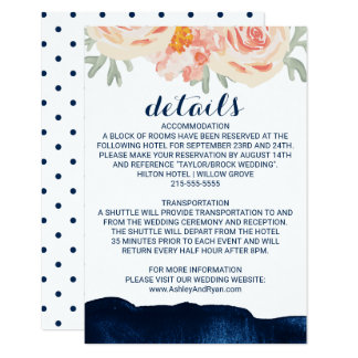 Floral Peach and Navy Watercolor Wedding Details Card