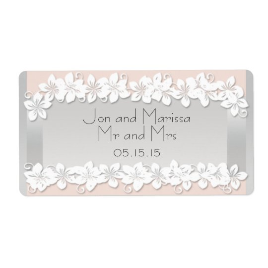 Floral Peach and Silver Wedding Water Bottle Label
