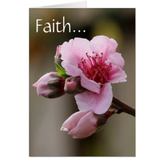 Floral, Peach Blossom w/ Scripture verse on Faith Card